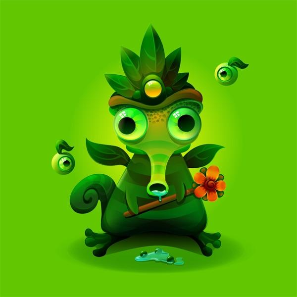 Chameleon - monster, green, chameleon - estince | ello