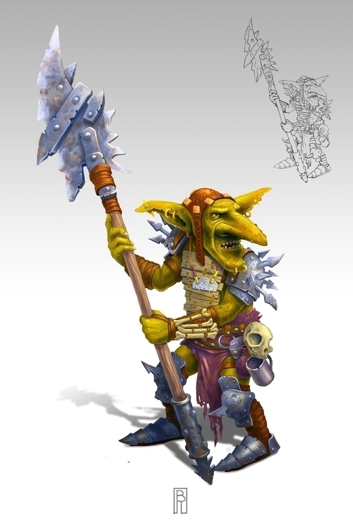 Goblin pikeman - characterdesign - boris_rogozin | ello