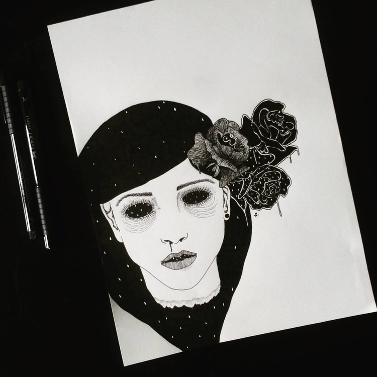 Kelly - illustration, drawing, blackandwhite - salutnoe | ello