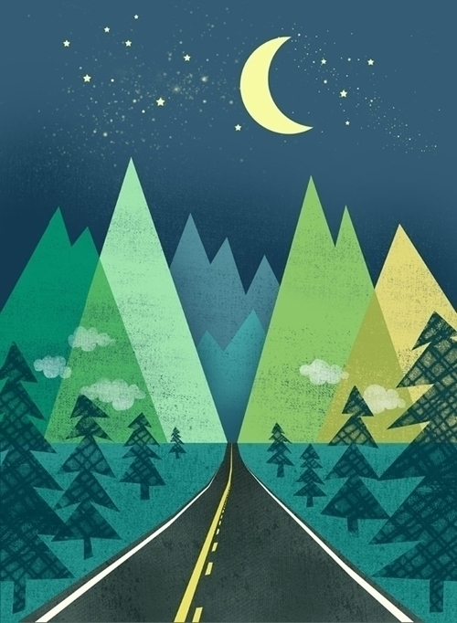 long road night - trees, travel - jennytiffany | ello