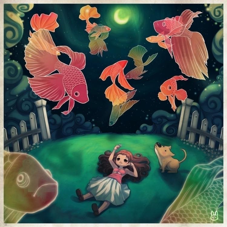 Betta Dreams - betta, fish, dog - mechbunnies | ello
