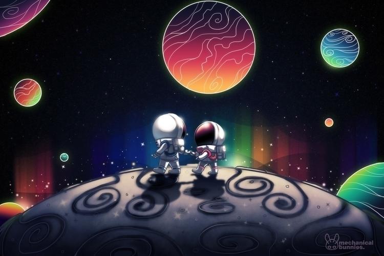 Moon walk - astronauts, moon, space - mechbunnies | ello