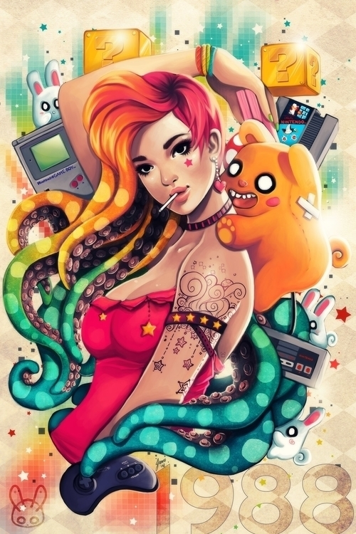 1988 - octopus, octogirl, monstergirl - mechbunnies | ello