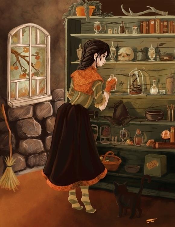 Witches Cottage - illustration, conceptart - artbyjenisse | ello