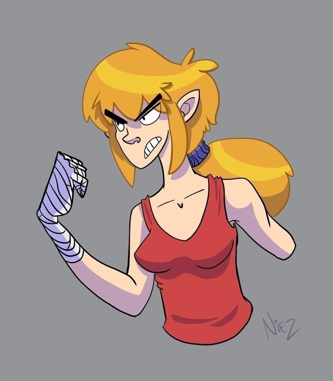 Fight girl - illustration, characterdesign - dustlight_ | ello