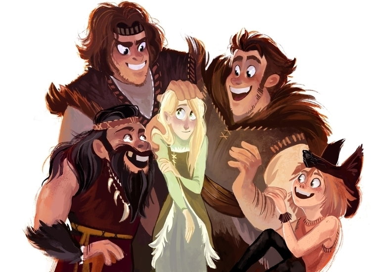big happy family  - characterdesign - dykah | ello