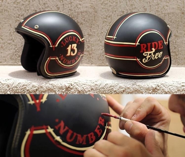 Hand painted helmet - helmets, motorcycle - gibara | ello