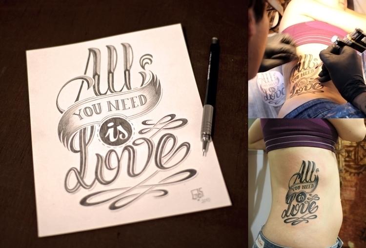 Handmade lettering tattoo - beatles - gibara   ello