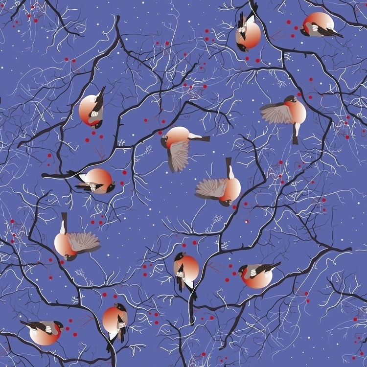 bullfinches - illustration, vector - naktisart | ello