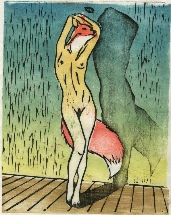 Kitsune - illustration, printmaking - rosie-1055   ello