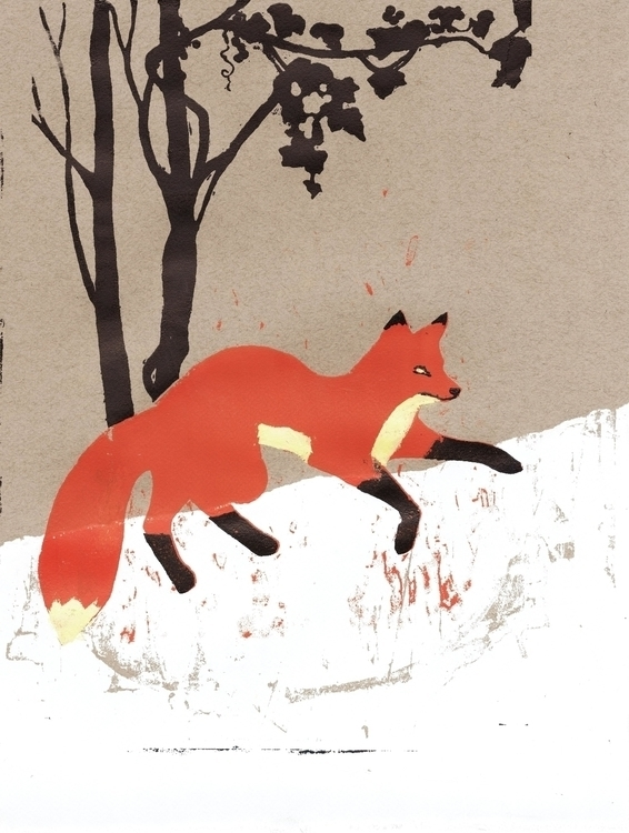 Fox Snow - illustration, printmaking - rosie-1055 | ello
