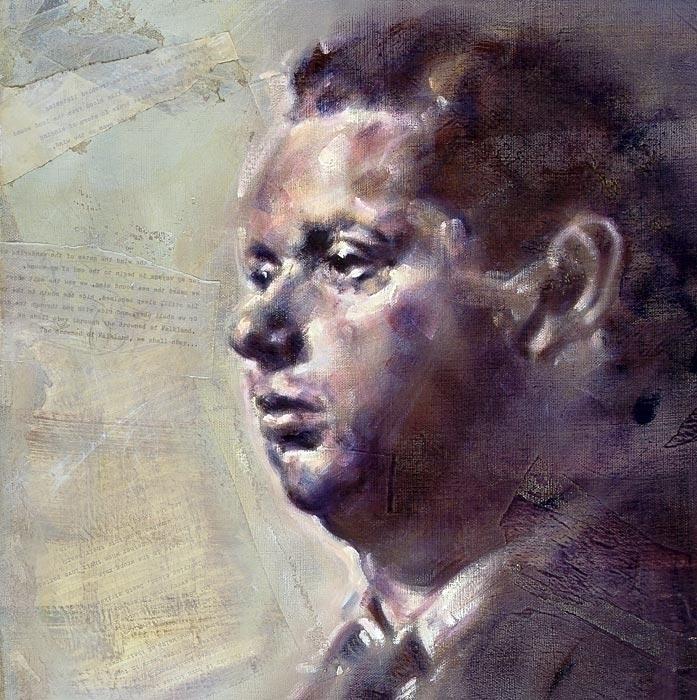 Portrait Dylan Thomas, Oil coll - ritchard27 | ello