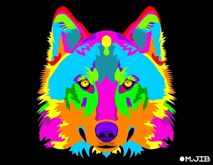 Wolf Spirit - psychedelic, colorful - mjib | ello