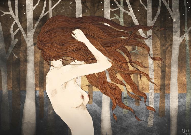 Wind - illustration, drawing, mixedmedia - kunarysuje   ello