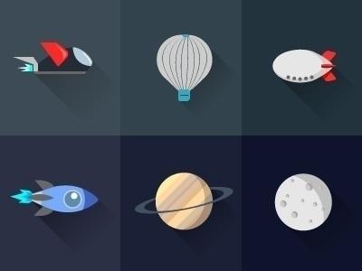 vector, flatdesign, icons, planet - laudruiz | ello
