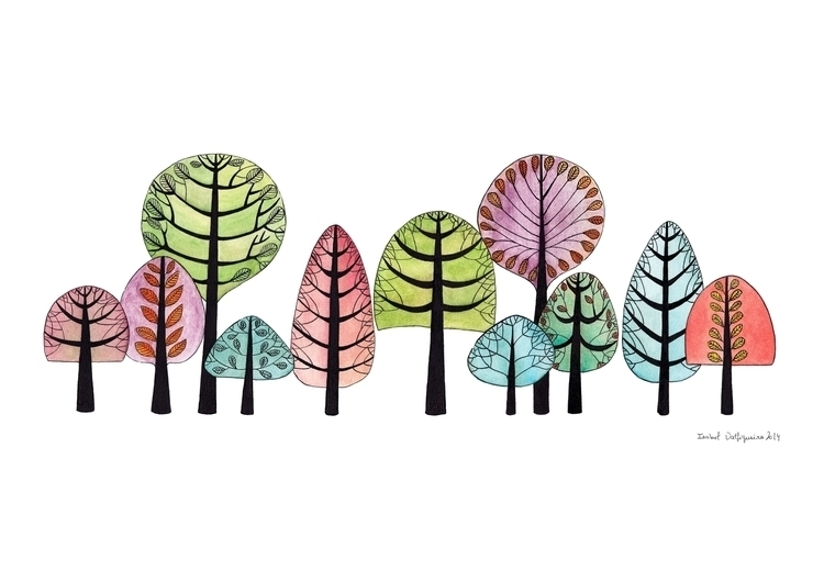 Forest. Watercolor indian ink p - isabelvalfigueira | ello
