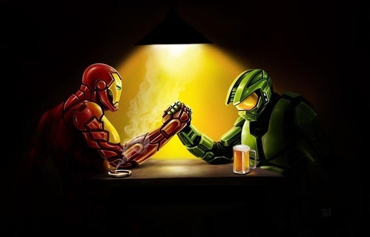 iron man master chief - illustration - lnpbr_b9   ello