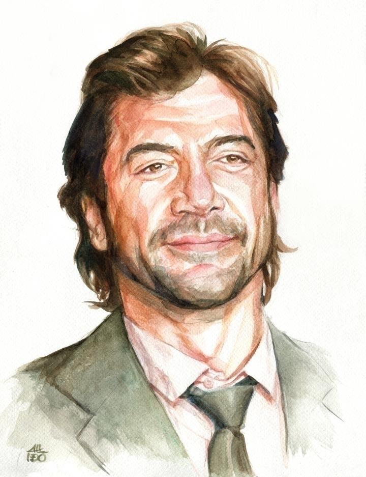 Javier Bardém - portrait, watercolor - alexideo | ello