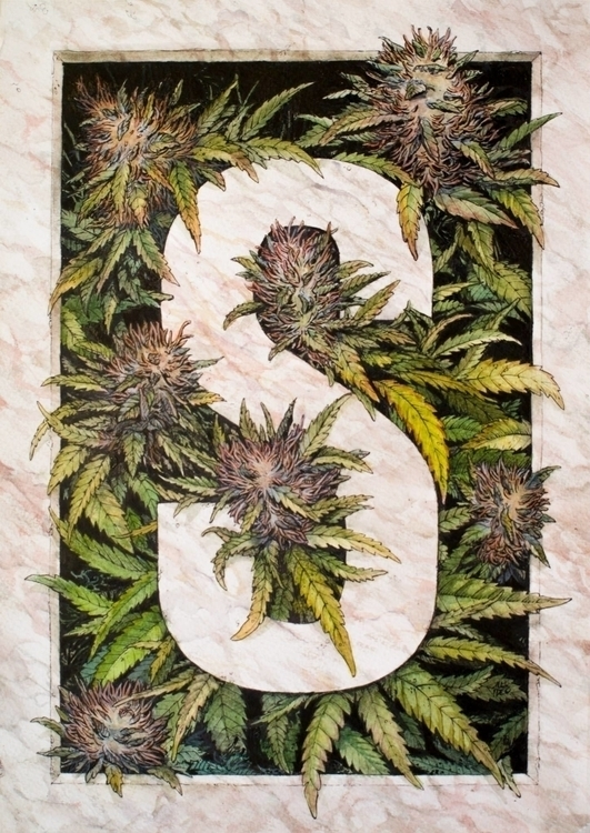 illustration, weed, watercolor - alexideo | ello