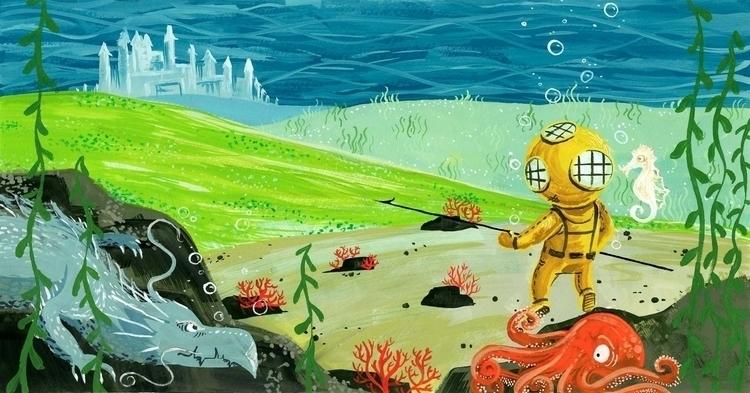 gouache, underwater, deepsea - ashleyrades | ello