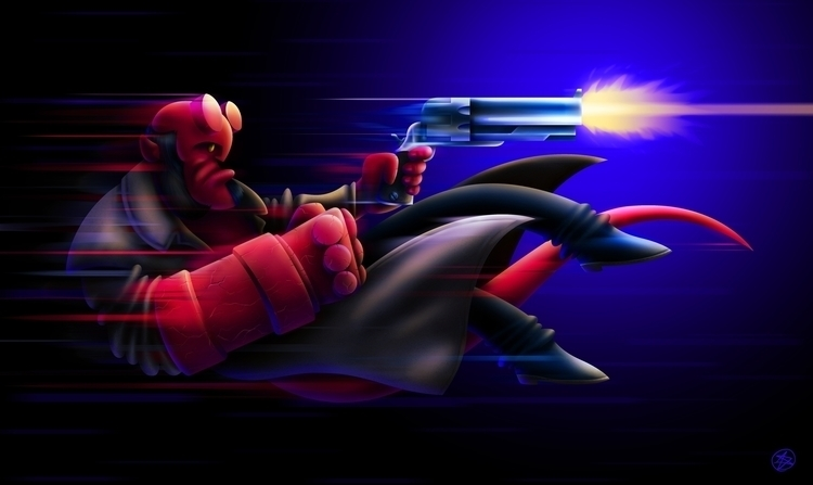 Hellboy - hellboy, gun, power, bang - nicosarmiento | ello