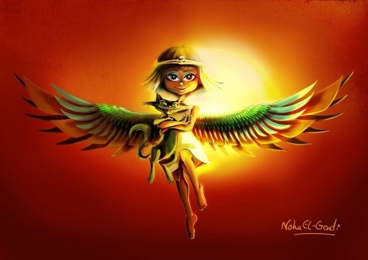 Pharaonic Winged Girl - illustration - noha-el-gendi   ello