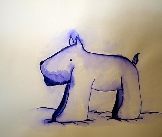 Dog - ink, illustration, painting - sao-5808 | ello