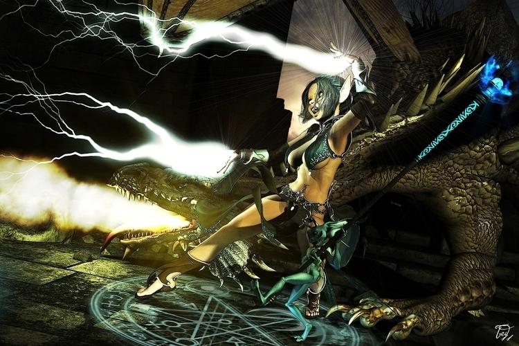 Gnome Sorceress, pet - 3d, fantasy - baddog117 | ello
