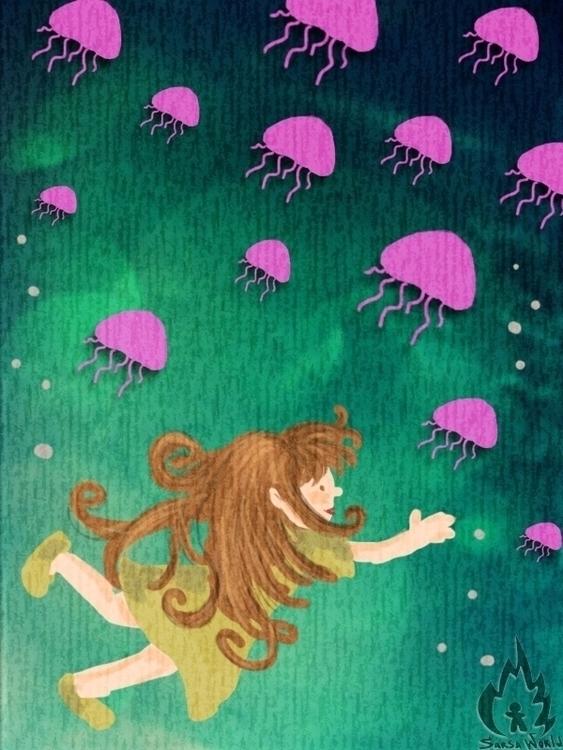 jellyfish, kidsillustration, kids - amandaloyolla | ello