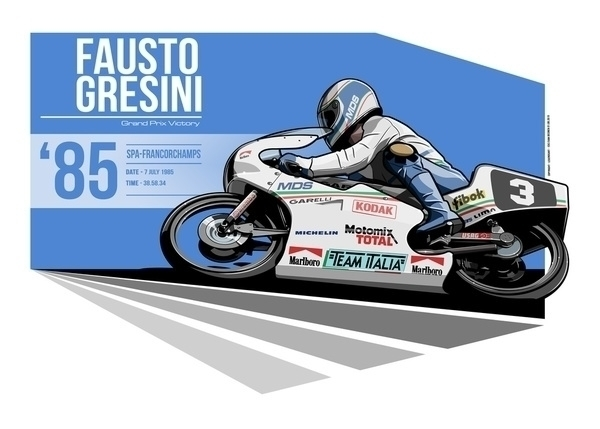 Fausto Gresini - 1985 Spa - illustration - evandeciren | ello