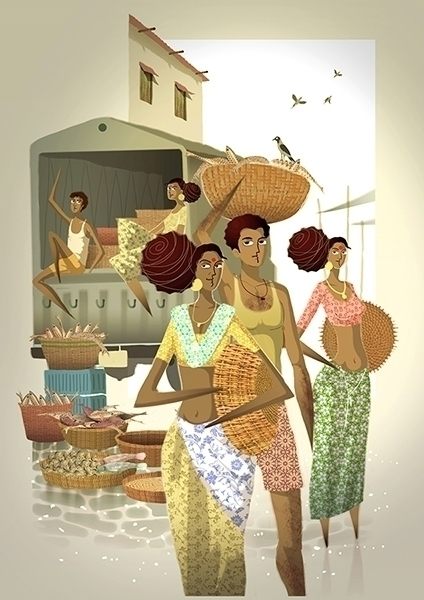 fish market - illustration, painting - pavanrajurkar | ello