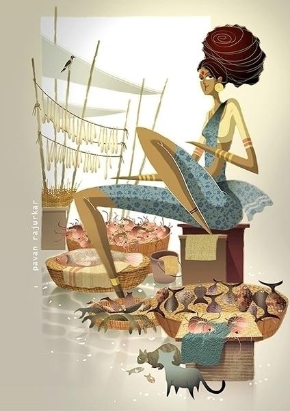 fish market 2 - illustration, painting - pavanrajurkar   ello