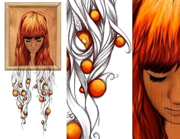 Golden weight - Acrylic Biro - illustration - defriend | ello