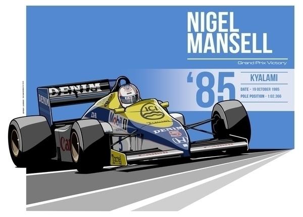 Nigel Mansell - 1985 Kyalami - illustration - evandeciren | ello