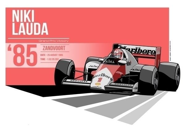 Niki Lauda - 1985 Zandvoort - illustration - evandeciren | ello