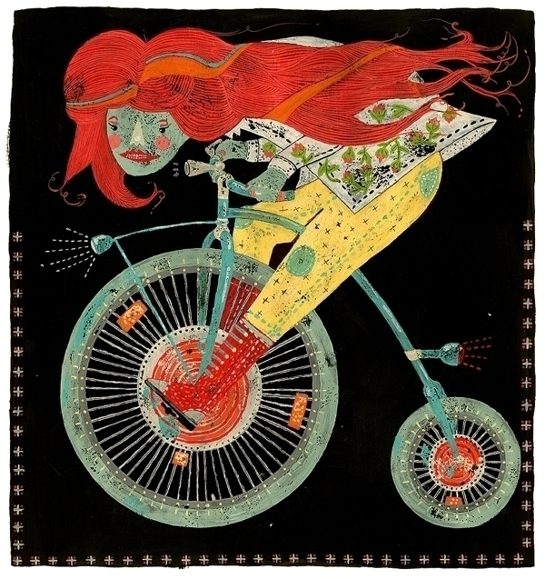 Girl fast bike - illustration - marinamilanovic-2473 | ello