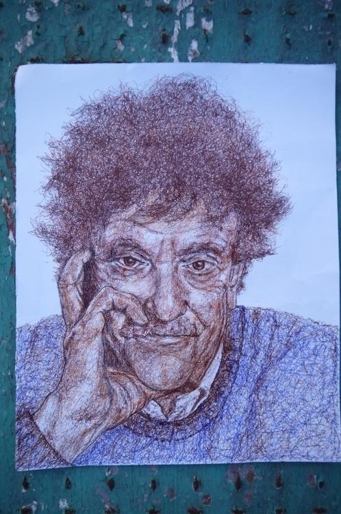 Kurt Vonnegut - drawing, kurtvonnegut - el_compy | ello