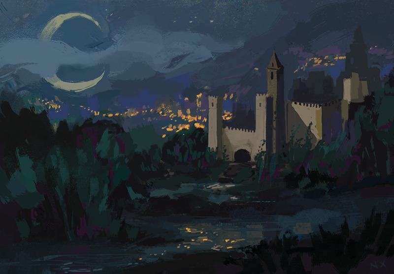 Castle Night - castle, night, illustration - nicolexu-8498 | ello