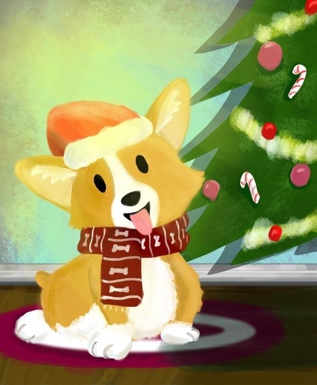 corgi, christmas, illustration - roxanneeee | ello