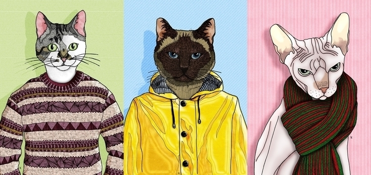 Cats - illustration, drawing, cat - akumimpi | ello