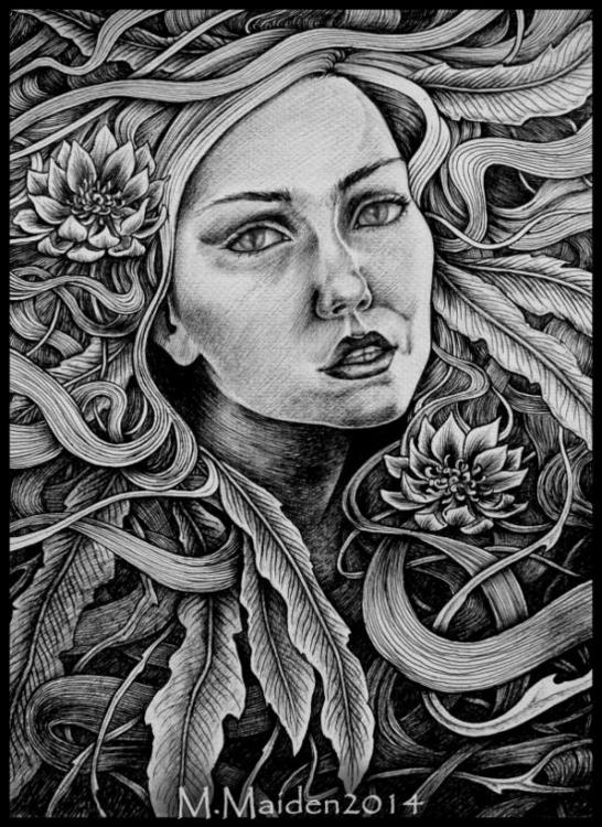 Melusine, 2014, A3 biro drawing - mmaiden | ello
