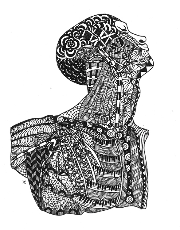 Bust - illustration, zentangle, zendoodle - akumimpi | ello