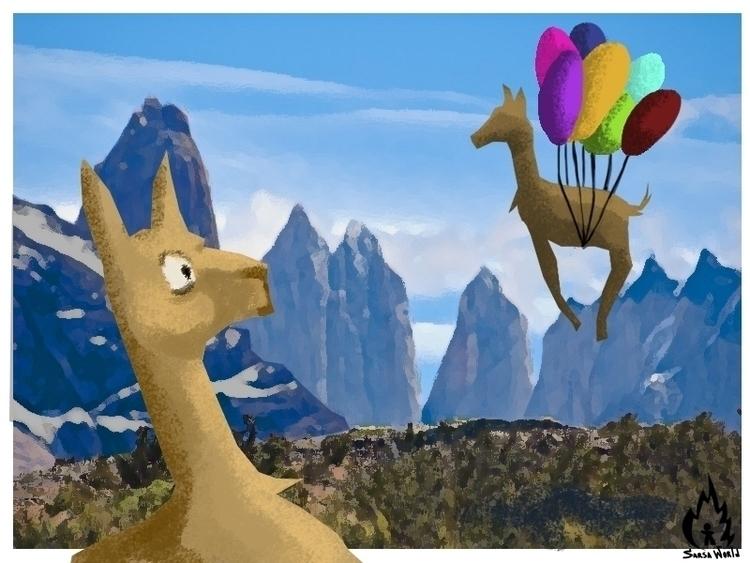llamas, balloons, kidsillustration - amandaloyolla | ello