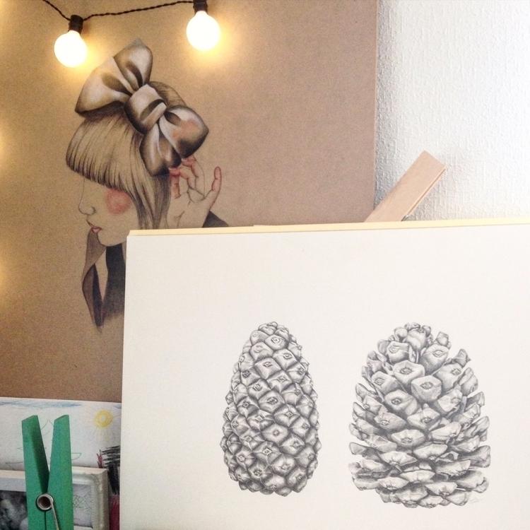Pinecone pencil drawing - Drawing - jannickesvardal | ello