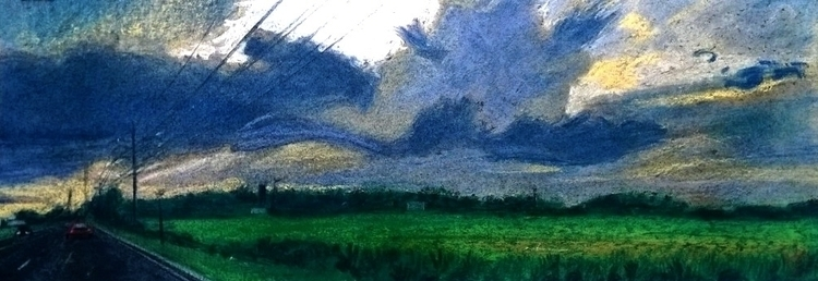 Driving 001 - clouds, drawing, road - kennethshearer-1623 | ello