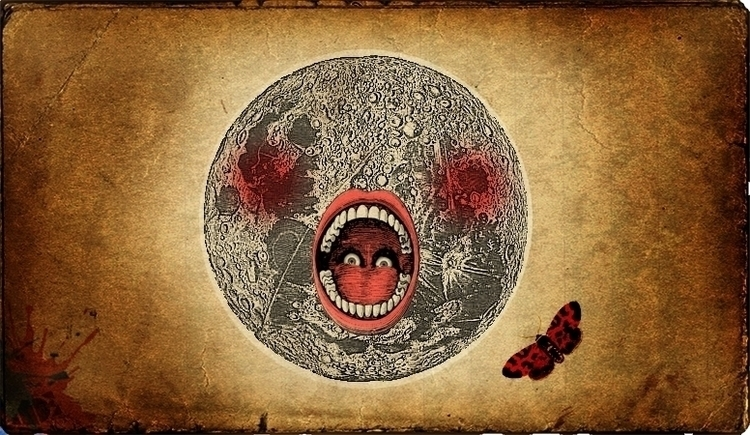 RED MOON - illustration, vintage - ade-1063 | ello
