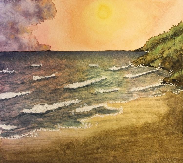 Place - sea, painting, watercolor - elenamantovan   ello
