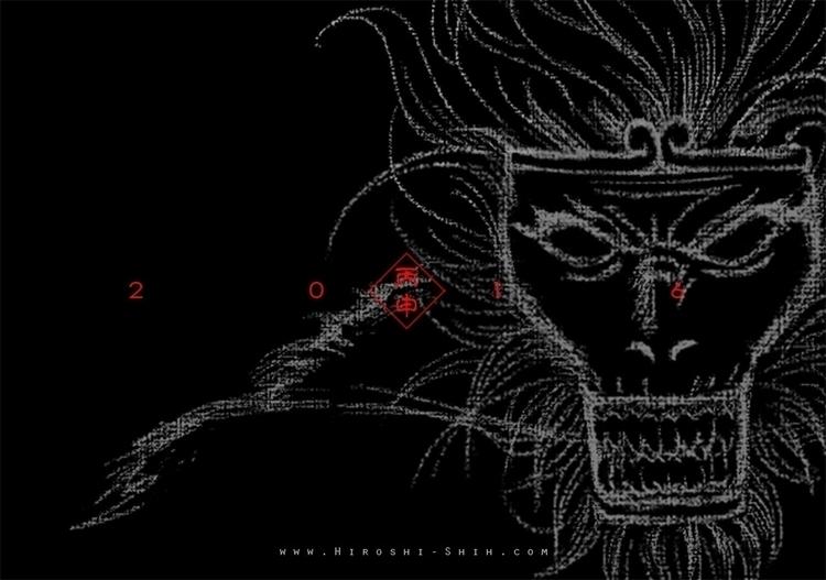 Monkey King (black version - illustration - hiroshi-1056 | ello