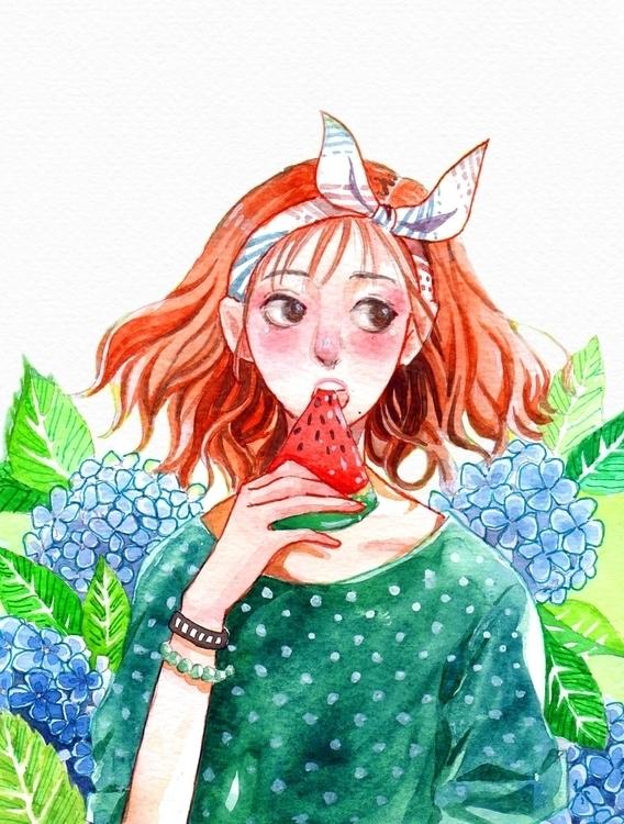 Water melon girl - illustration - lucasbo | ello