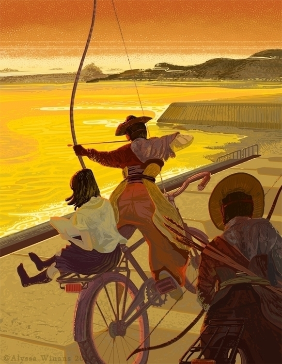 illustration, japan, kyudo, alyssawinans - awinans | ello